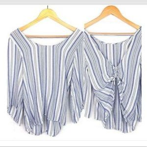 Drew pinstriped bow back top
